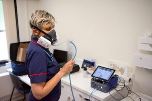 NHS Staff during face mask fit testing